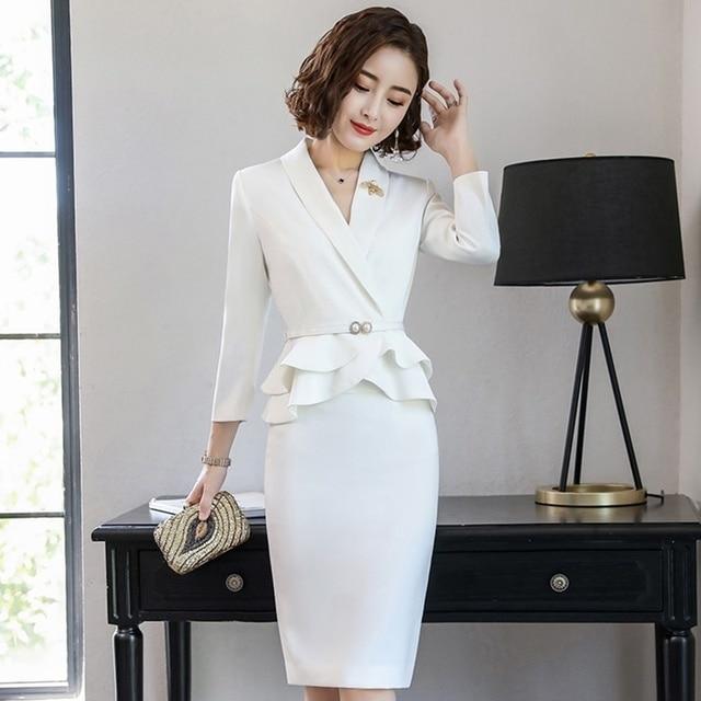 039bfd5f6 Entrevista trajes mujer damas elegante blanco Chaqueta de traje de falda de  las mujeres 2018 Oficina