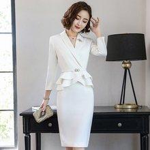 8eb599454f Entrevista trajes mujer damas elegante blanco Chaqueta de traje de falda de  las mujeres 2018 Oficina uniforme diseños traje de n.