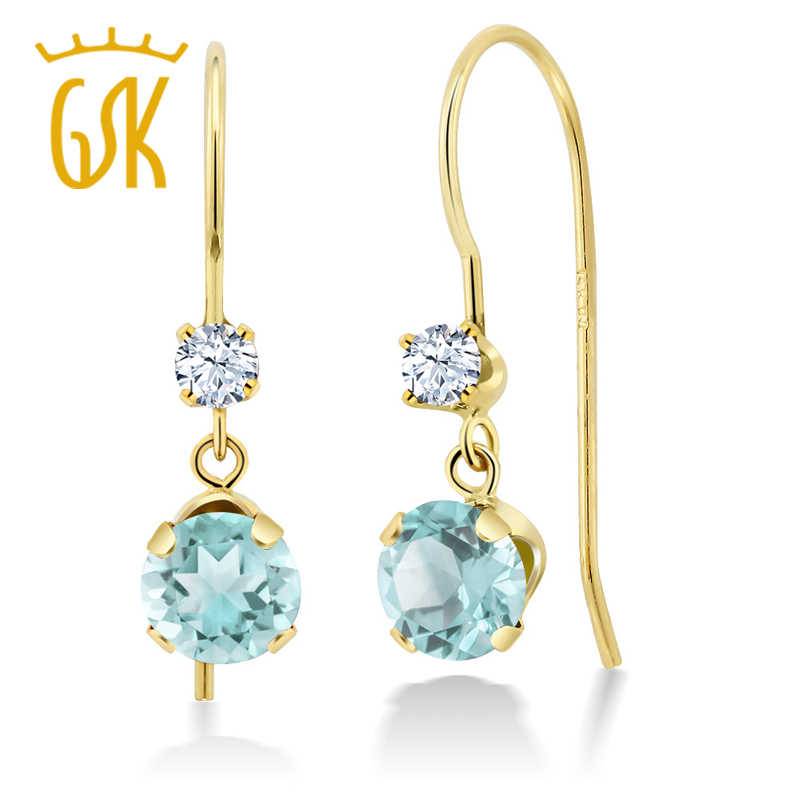 736bc940d 1.10 Ct Round Sky Blue Topaz White Created Sapphire 14K Yellow Gold Earrings