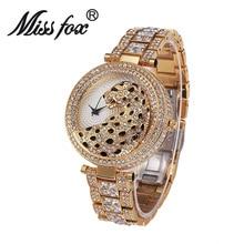 Miss Fox Brand luxury Leopard Watch Fashion Women Golden Clock Charms Full Diamond Gold Quartz Wrist Watches bs