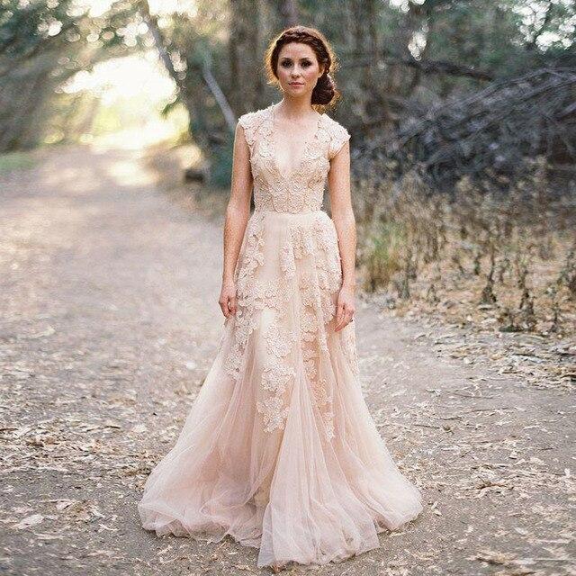 Empolvado Novia Nueva Una 2016 Rosa Hot De Vestidos Línea Boho SXx51xg