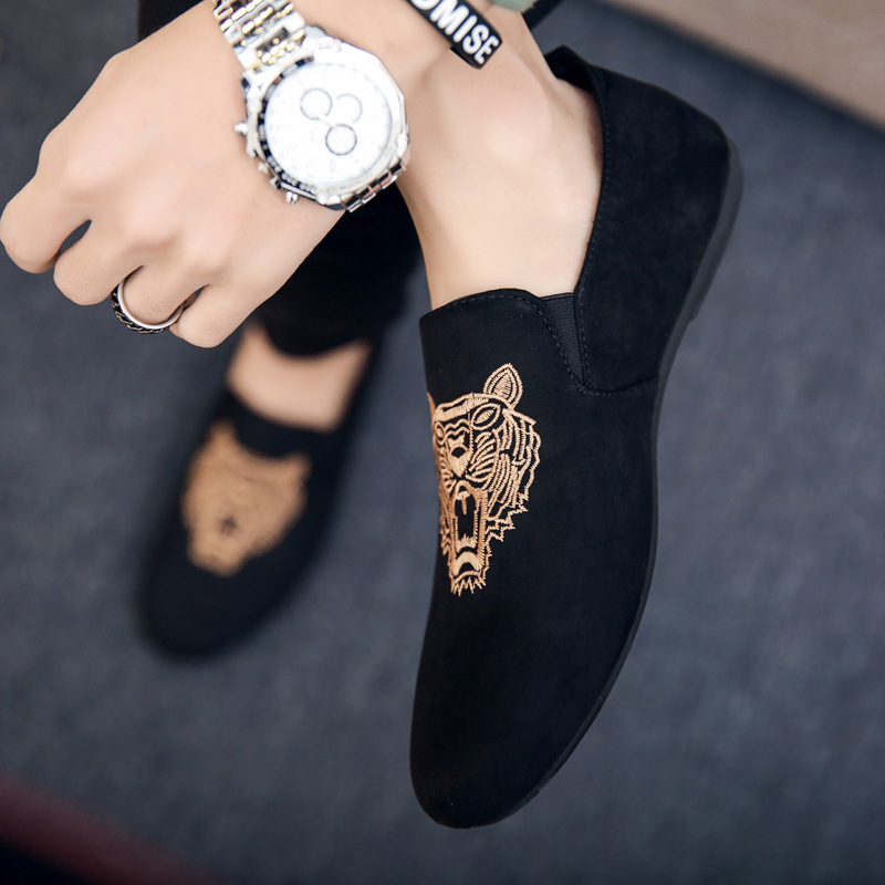 2018 mens casual loafers shoes breathable light fabric fashion animal prints leopard black gray blue flat with cheap male shoes fashionable tassels ornament leopard pattern flat shoes loafers black leopard pair size 36