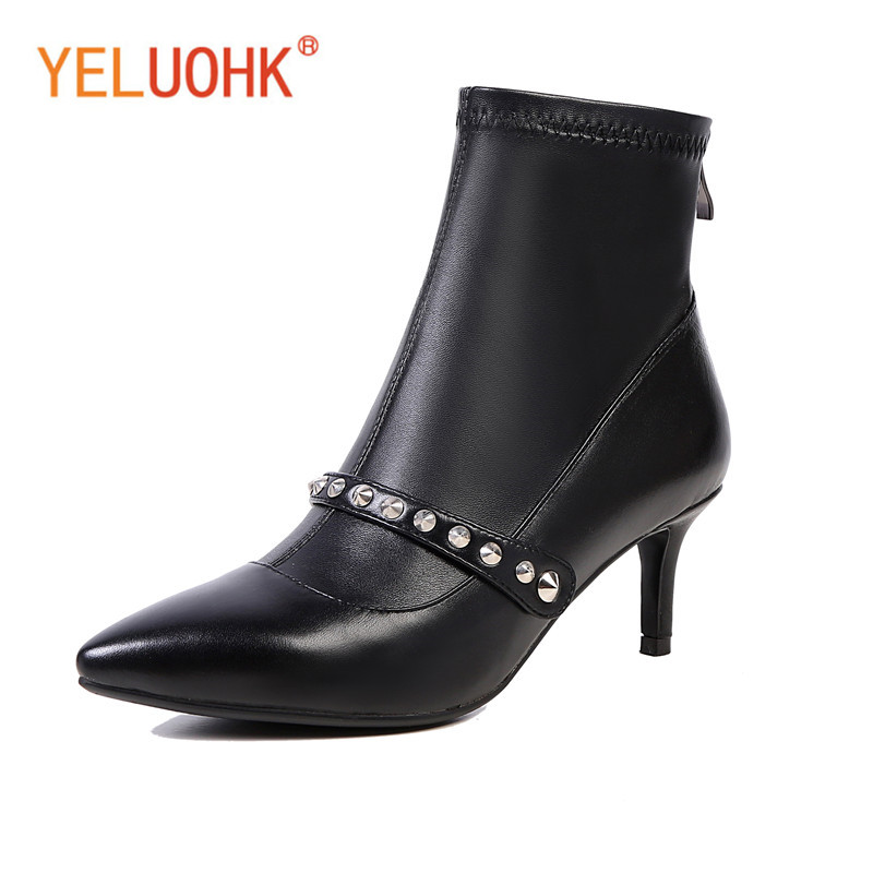 34-43 Genuine Leather Women Winter Boots Platform Winter Women Boots Female Winter Shoes Ankle Boots For Women Big Size autumn and winter new personality retro cowhide ankle boots handsome female waterproof platform genuine leather women shoes 9731