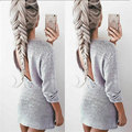 2017 Sexy Open Back Hollow Out Dress Women Autumn Knitted Dress Long Sleeve Slim Dresses Party Club Short Dresses Robe Vestidos