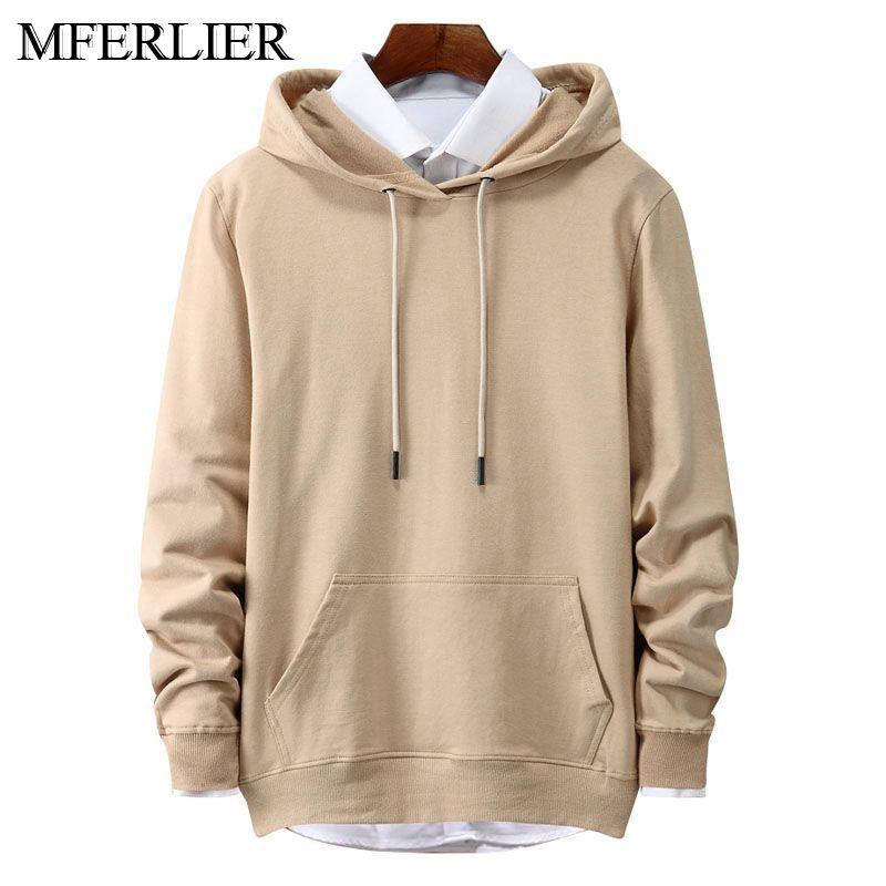 MFERLIER Spring Autumn men Sweatshirts 4XL 5XL 6XL large size long sleeve plus size Hoodies men 8 colors