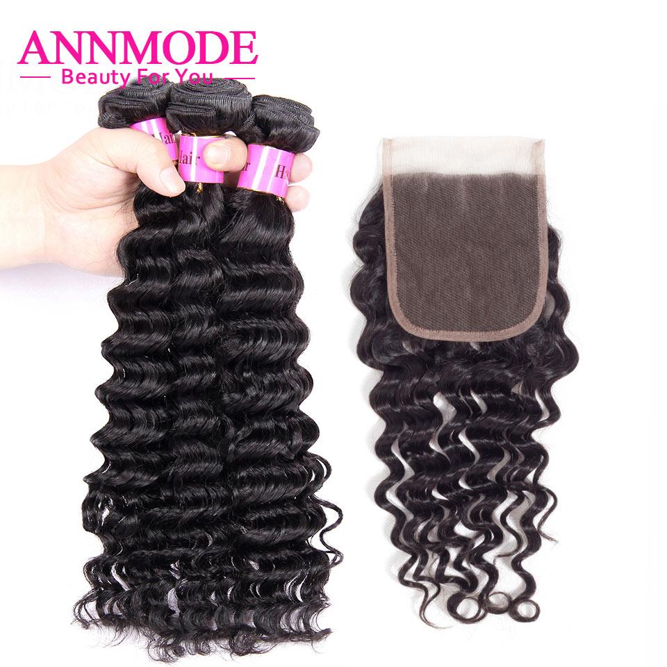 3/4 Bundles Brazilian Deep Wave With Closure 100% Human Hair Bundles With Closure 4x4 Inch Closure With Bundles Non Remy