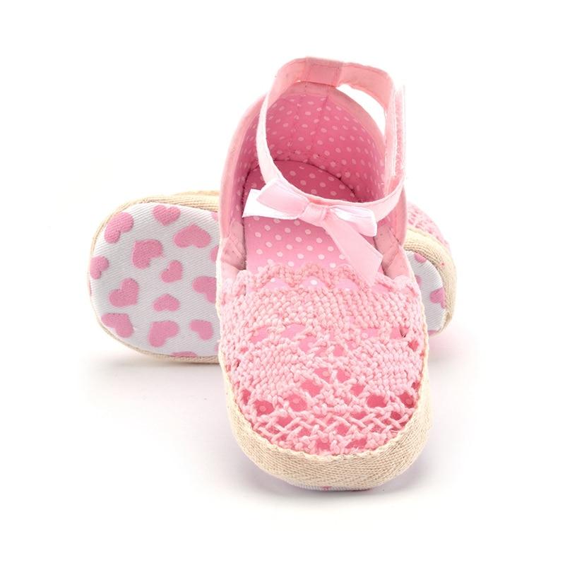 Spædbarn Toddler Prinsesse Håndlavede Baby Girls Sandaler Spædbarn Toddler Prinsesse Babypiger Prewalker Soft Soled Bow Sko