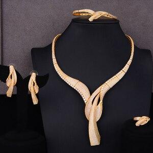Image 1 - GODKI מפורסם מותג פרח פלצור לולאות יוקרה ניגרית קובע לנשים CZ זירקון חתונה כלה תכשיטי סטי 2019