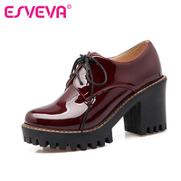 ESVEVA Red Patent Leather Woman Shoes Thick High Heel Ankle Boots Round Toe Platform Short Boots