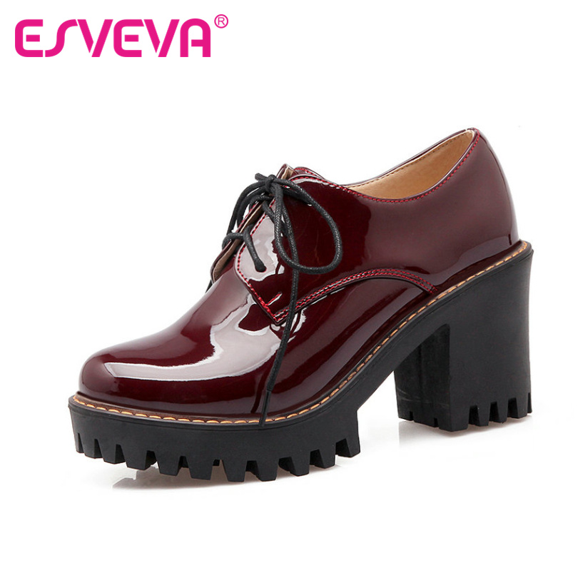 ESVEVA 2018 Red Black Patent Leather Woman Shoes Thick High Heel pumps Round Toe Platform PU lace up Casual Shoes Big Size 34-43 lace up women shoes pumps new spring autumn round toe female casual high heels casual shoes platform woman size 43
