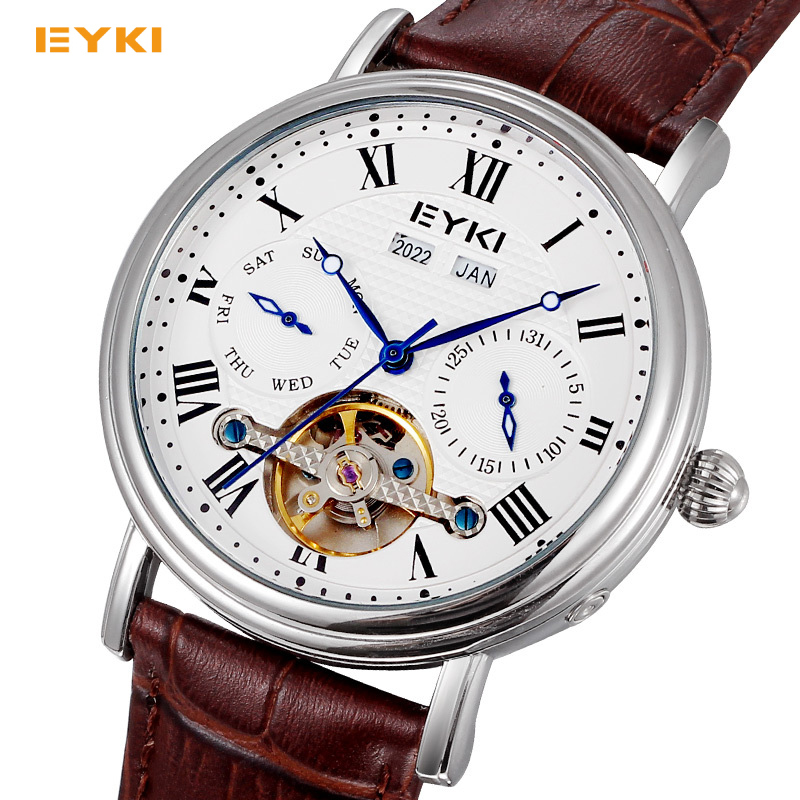 EYKI Automatic Self-wind Mechanical Men Watch Two Sub Dial Leather Waterproof Date Month Year Week Luxury Brand Men's Watches forsining a165 men tourbillon automatic mechanical watch leather strap date week month year display