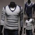 2014 novo clássico dos homens do Patchwork Slim fit V blusas de cor sólida de manga roupas M-XXL