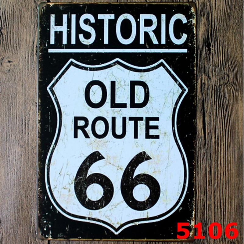 Metal sign Historic OLD Route 66 raod poster wall plaque Vintage home decor metal craft Wall painting