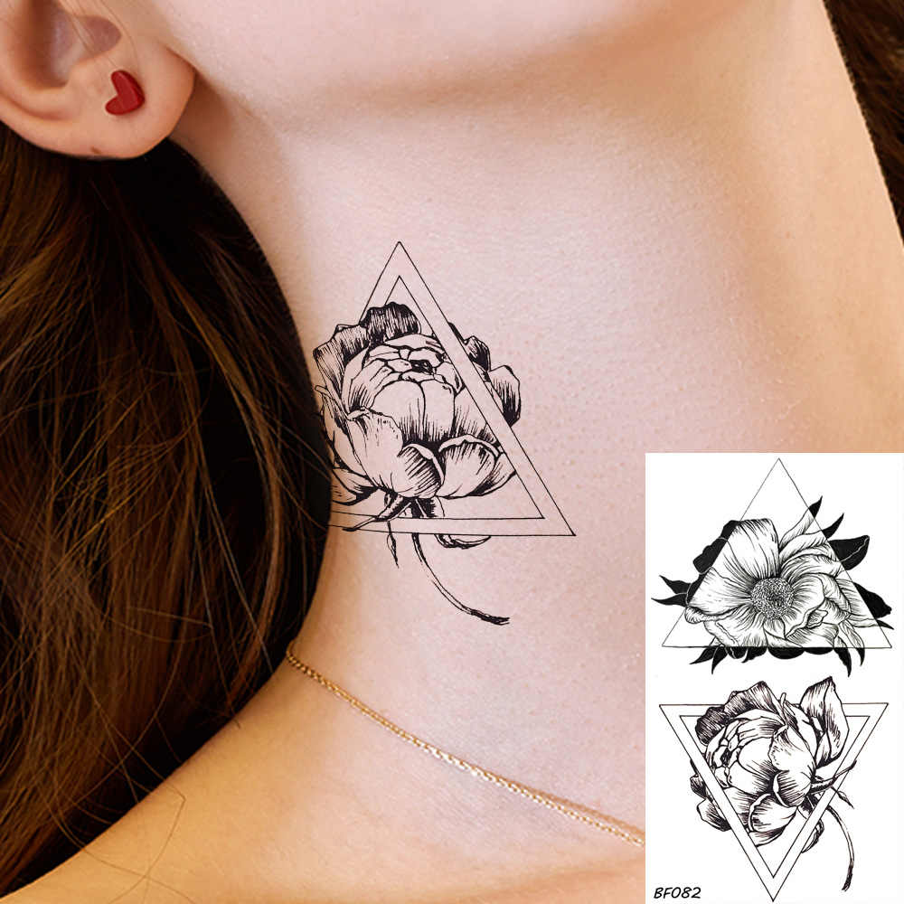 Temporary Tattoo Stickers Women Geometric Black Fake Tattoo Flower Ear Small Waterproof Tatoos Girls Triangle Rose Summer Style