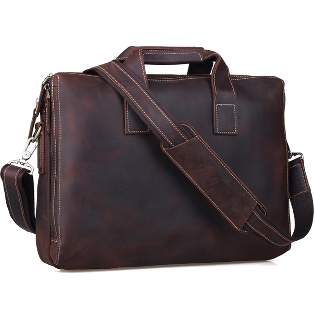 e16c3cb1750d Business Cowhide Leather Briefcase 14 Inch Laptop Bag Mens Top Handbag  Vintage Soft Brown Satchel Messenger Shoulder Bag Tiding