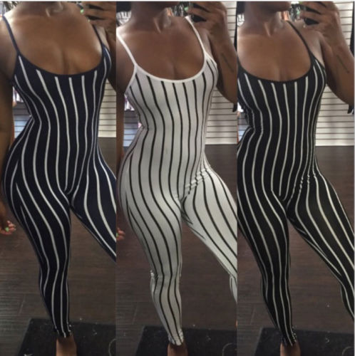 ed56c2969fb5 Sex Lady Sleeveless Long Romper Jumpsuit Bodysuit Stretch Leotard Top  Striped Daily Female Womens Jumpsuits Rompers Clothing