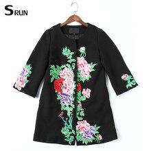 embroidery long sleeves vintage flowers black long jacket 2016 high quality plus size 3xl 4xl woolen jacket autumn winter  901