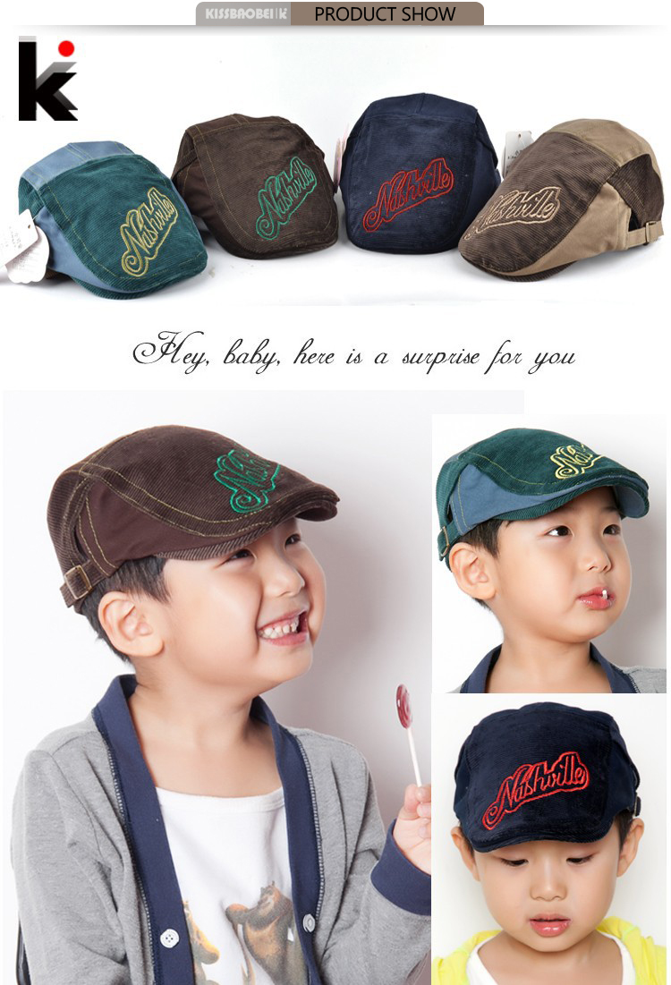 425cad593c6 2018 Fashion New Kid Boys Beret Hat Stripe Letter Design Baby Boy ...