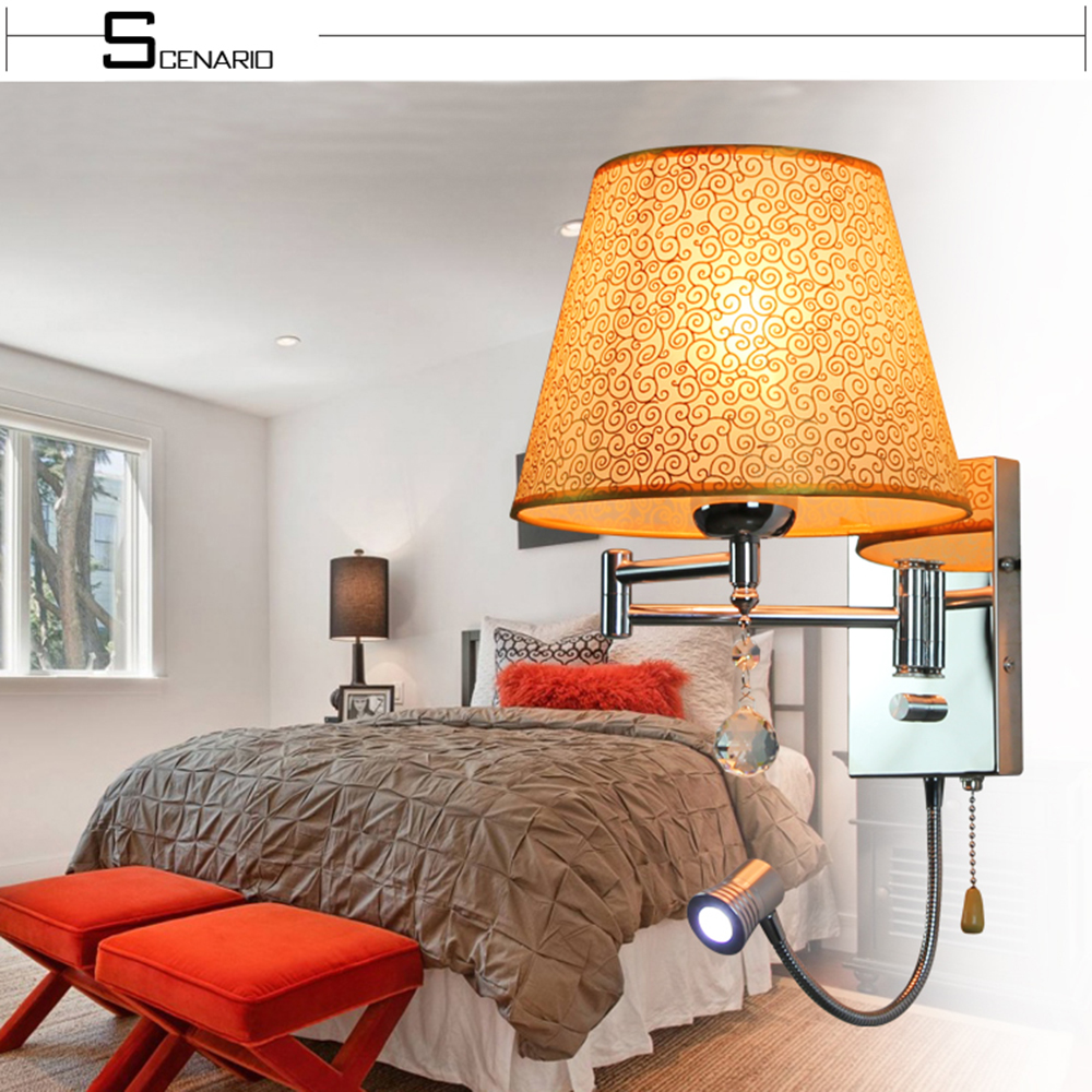 Wall Lights for Home E27 Lighting Bed Room Led Flexible Wall Light 110-220v Simple Modern Simple Switch Button Lamp modern crystal bed room wall lamp led sconces 110v 220v living room light home deocrationg lighting fixture free shipping