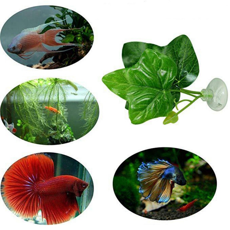Artificial Plant Leaf Hammock Fish Rest Bed Aquariums with 2 Leaves