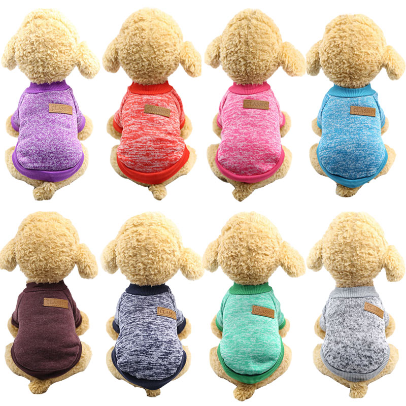 Classic Pet Dog Clothes Solid Cat Dog Hoodie Puppy Outfit Pet Sweater Clothing For Dogs Costume For Small Medium Dogs Chihuahua
