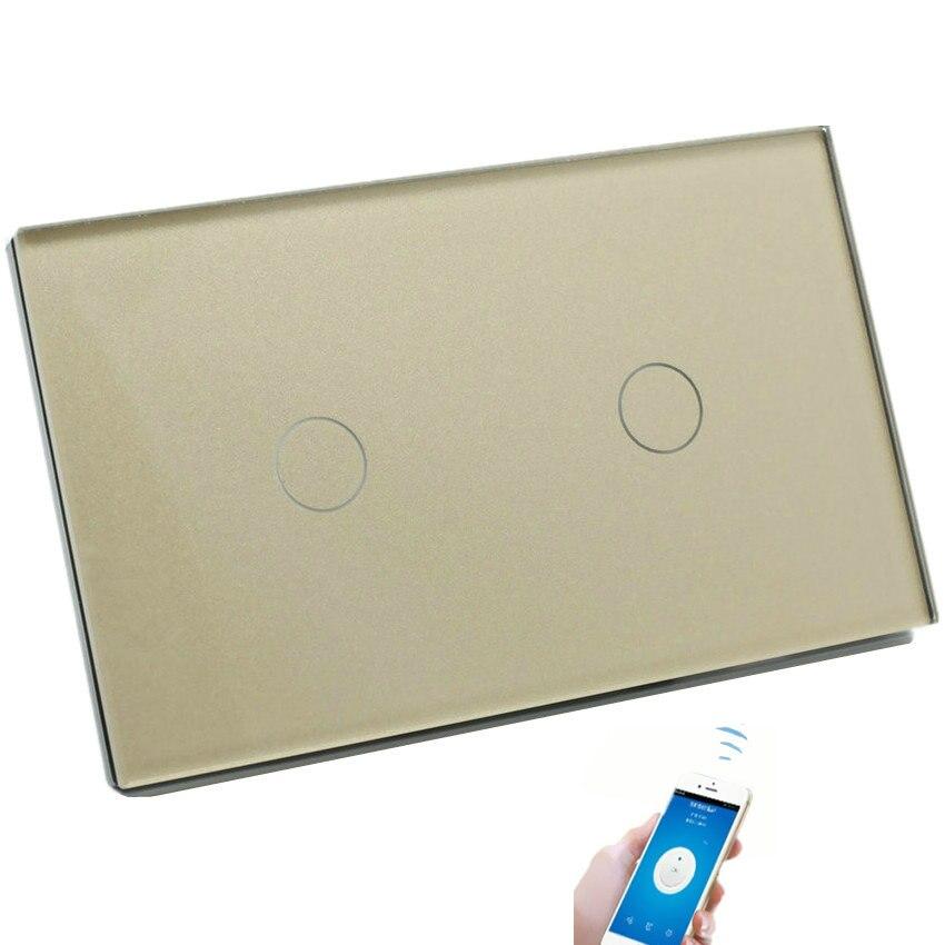 Commutateur de télécommande WiFi lumière LED commutateurs tactiles muraux Smart Home US 2G 3G 1 voie panneau de verre de luxe trois couleurs disponibles
