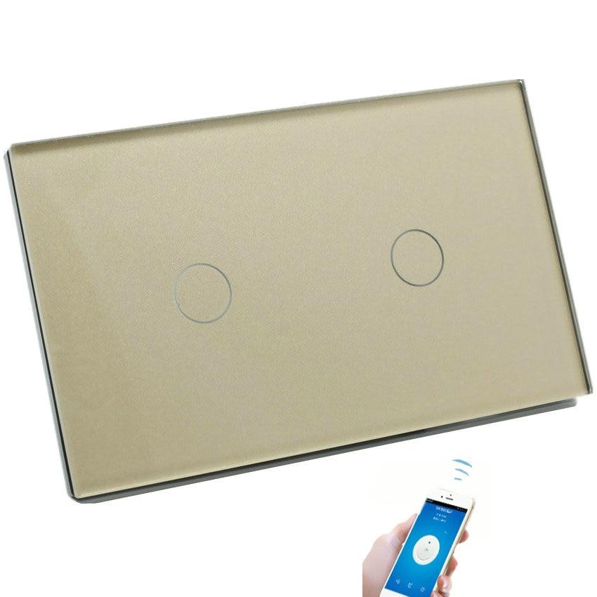 WiFi Switch Remote Control LED Mur Tactile Commutateurs Maison Intelligente NOUS 2g 3g 1 Façon De Luxe En Verre panneau Trois Couleur Disponible