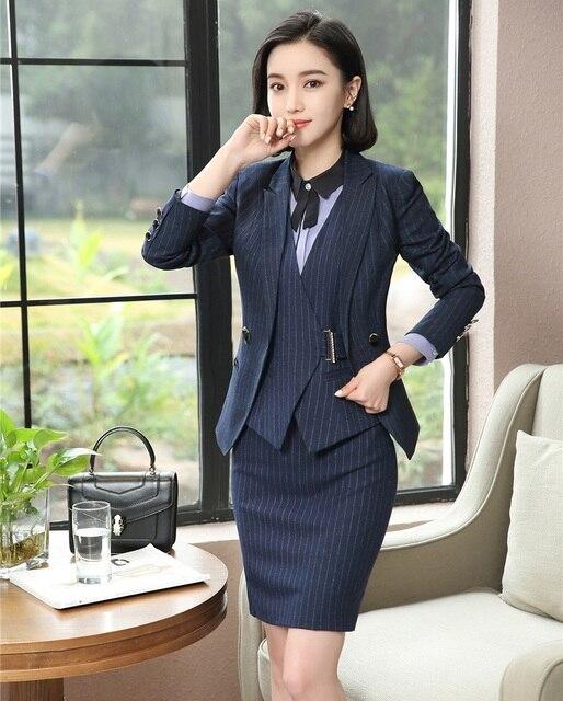 Tela de alta calidad Blazers mujeres trajes de negocios 3 unidades chaleco fef106461946