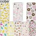 Funda de silicona suave con diseño de estampado de flor de plátano Donut de ciciber Flamingo para iPhone 6 6 s 7 8 plus 5S SE X Capa Fundas