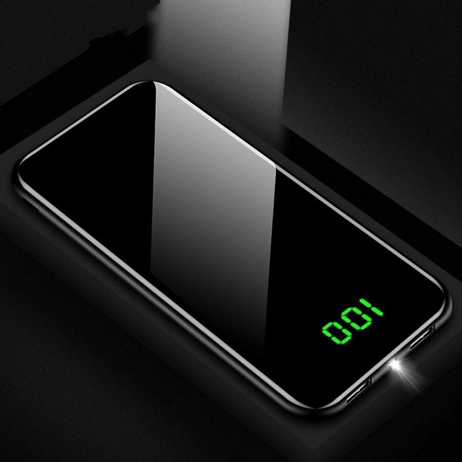 Mode mince LED batterie réelle externe 10000 mAh batterie Mobile batterie externe pour Xiaomi Samsung téléphone Powerbank