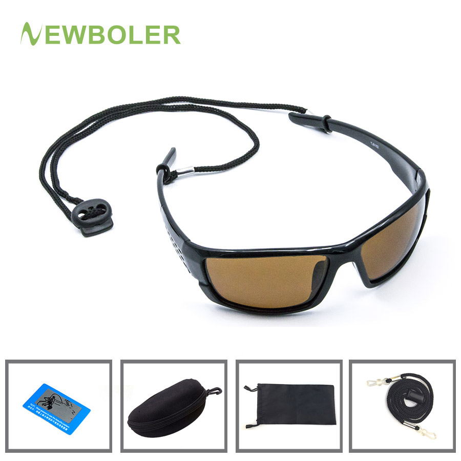 5a8fa6f5fa NEWBOLER polarizadas pesca gafas de sol amarillo marrón lentes versión de  la noche los hombres gafas de deporte al aire libre ciclismo gafas UV400