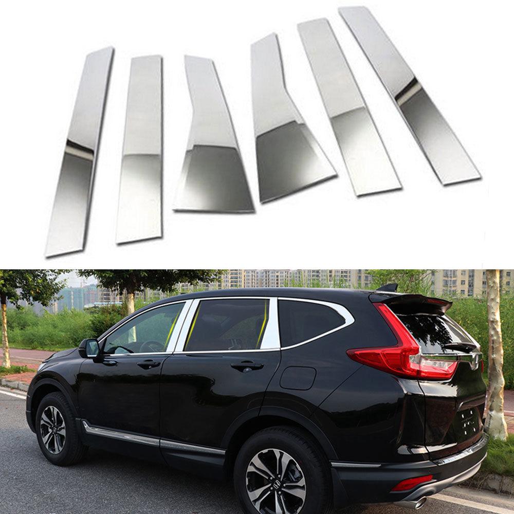 Fit Pour Honda CRV CR-V 2017 6 pcs ABS Extérieur Chrome Voiture Porte Fenêtre Pilier Garniture Couverture Car Styling Décoration accessoires