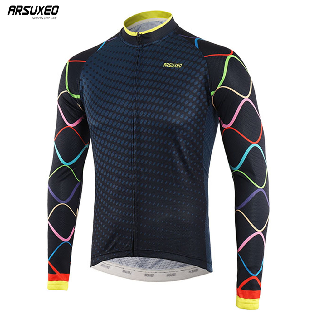ARSUXEO Men's Cycling Jersey Long Sleeve MTB  jersey  Bike Shirt Spring Summer Bicycle  Clothing  Ciclismo Quick Dry Z9XZ