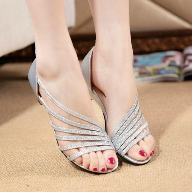 Kadın Sandalet Kalın Yüksek Topuk moda sandal Kadın parti ayakkabıları Yaz Hollow