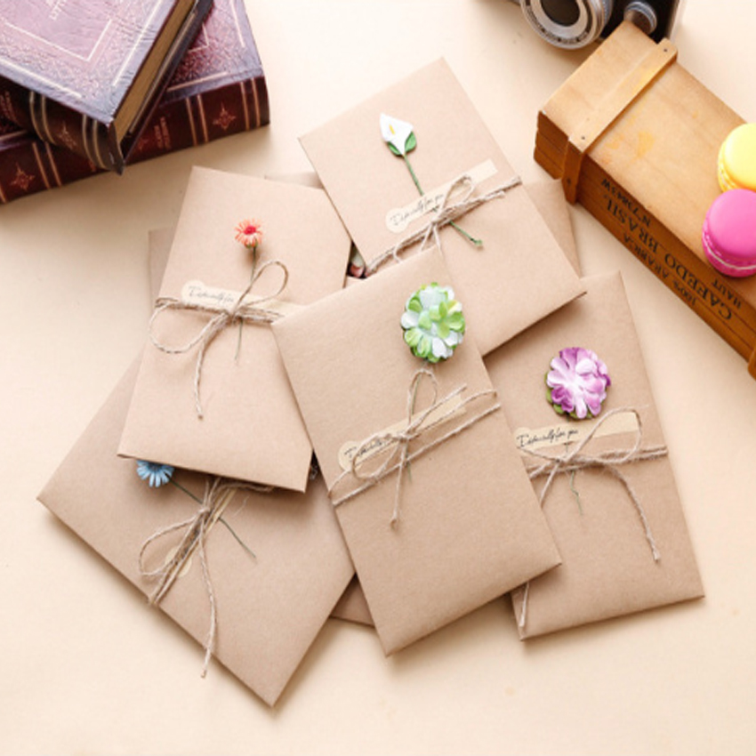 1pack/lot Vintage Kraft Paper Dried Flower Greeting Card With Flower Envelope Especially For You Gifts Message Invitation Card