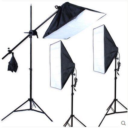DHL Free Photo Stuido SoftBox Set 3pcs Light Stand 3pcs Light Holder 3pcs Softbox Photo Equipment Softbox Kit 4 Sockets Softbox