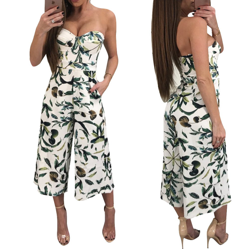 Long Printed Rompers Womens Jumpsuit Sexy Summer off shoulder Party Streetwear Wide Pants Club Playsuit Overalls