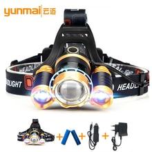 LED headlight 6000 lumens head flashlight xml t6+2xpe headlamp farol de led fishing camping hunting linternas frontales cabeza