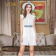 VOA Heavy Silk White Dresses Women Midi Dress Plus Size 5XL Summer Sweet Cute Office Short Sleeve Peter Pan Collar Solid A711