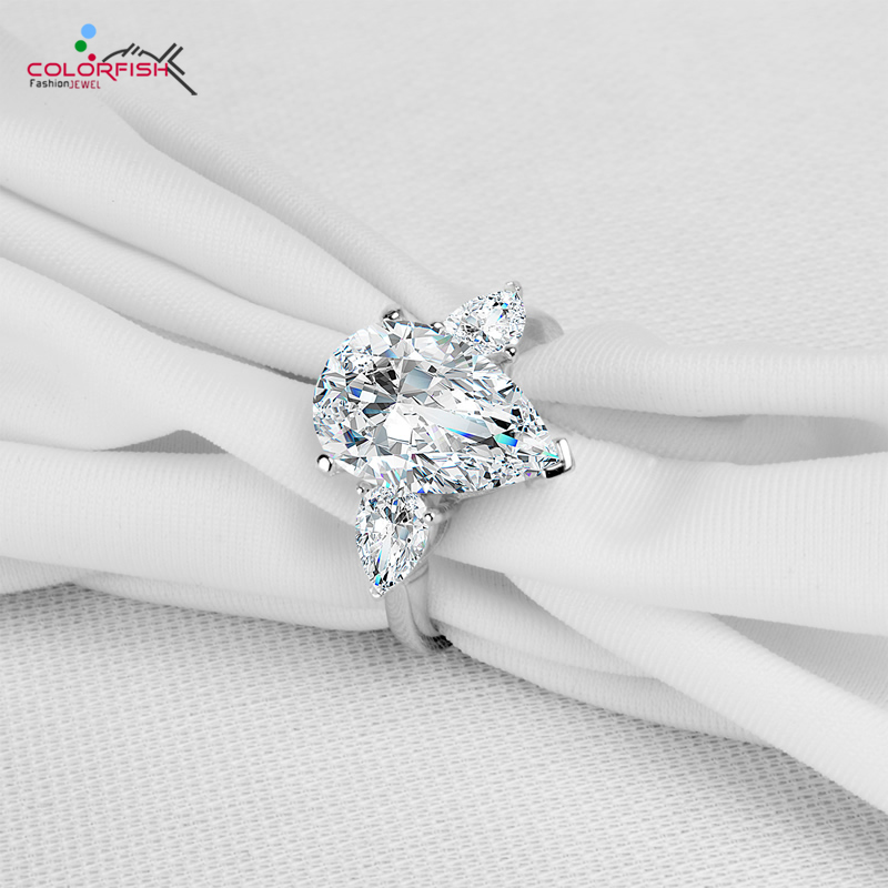 COLORFISH Luxury Rings For Women 5.5 Carat Sona 925 Sterling Silver Brilliant Pear Cut Big Three Stone Engagement Wedding Ring недорого