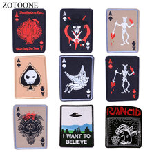 ZOTOONE Poker Skull Patches Badge Diy Stickers Iron on Clothes Heat Transfer Applique Embroidered Applications Cloth Fabric G zotoone round punk patches diy skull stickers iron on clothes heat transfer applique embroidered applications cloth fabric g