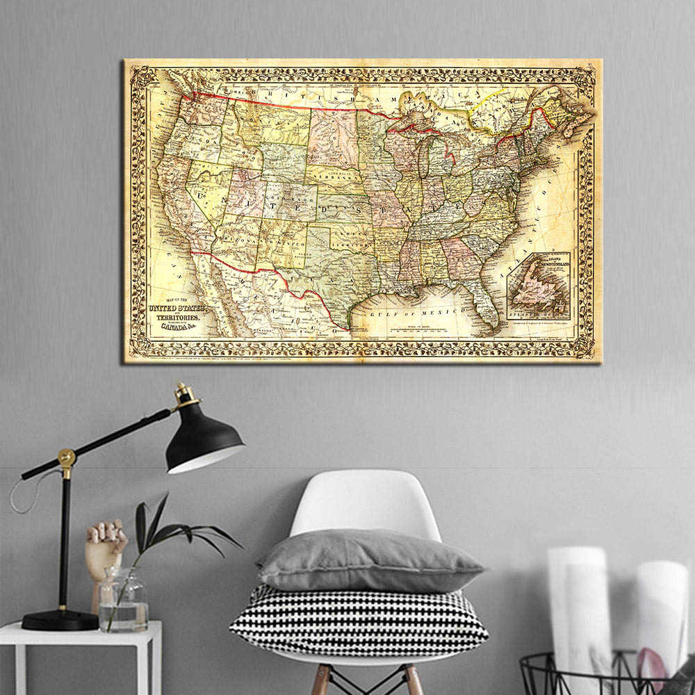 Large Decorative Painting Vintage United States Map Canvas Wall Art Giclee Print Map Poster Wall Picture for Office Home Decor