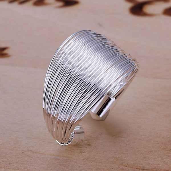 จัดส่งฟรี 925 เครื่องประดับ silver plated แหวนแฟชั่นสายแหวนเงินสำหรับสตรีและผู้ชายของขวัญแหวน SMTR018
