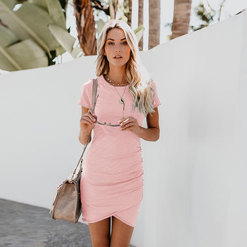 03f7562de1f Dropshipping Hot Sale Summer Dress 2018 Short Sleeve Balck Sexy Women Dress  Bodycon Casual High Waist Mini White Party Dresses-in Dresses from Women s  ...