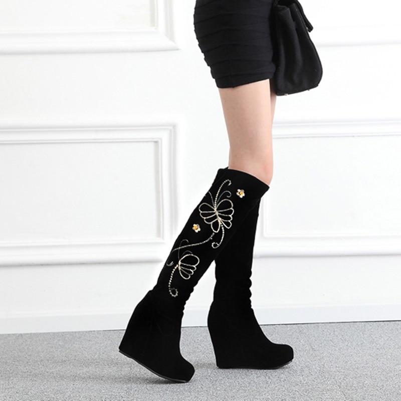 Cremallera Bordar Nueva 2018 Punta Invierno Moda Botas De Egonery Alta Mujer Negro Plataforma Super Cuñas Redonda Black Zapatos Rodilla nOw16Awx