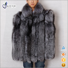 Winter Men Coat 2016 Russian Style Genuine Silver Fox Fur Coat Male Thick Warm Natural Fur Overcoat with stand collar