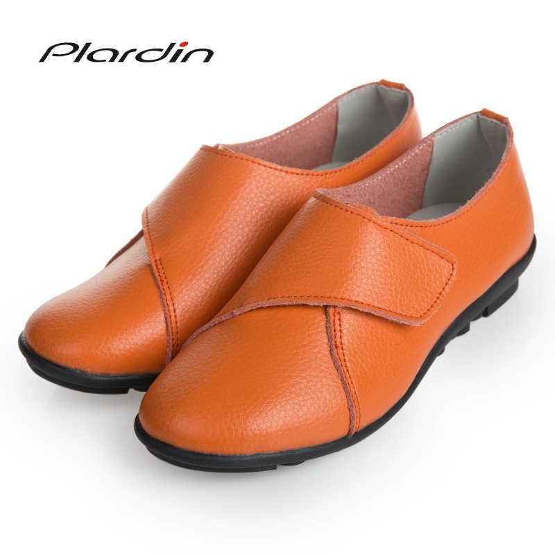 Nueva moda Plardin zapatos planos de cuero de ocio genuino para mujer mocasines Chatos informales hechos a mano de costura suave para mujer