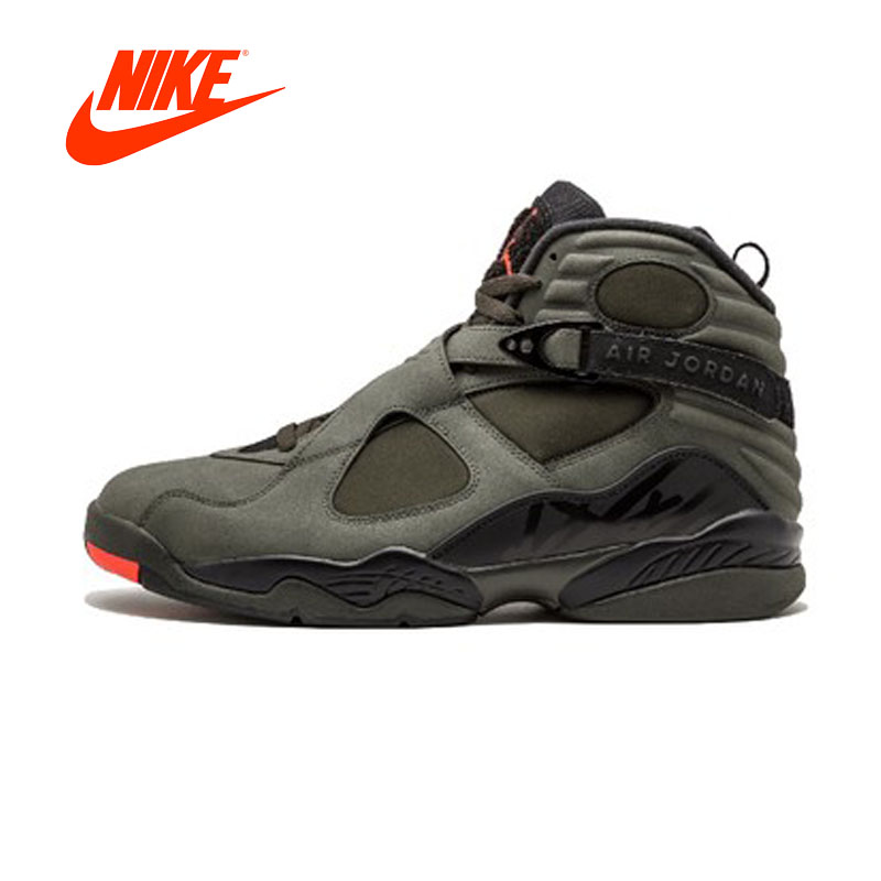 Original Nouvelle Arrivée Authentique NIKE Air Jordan 8 Rétro «Flight» Hommes de Respirant Chaussures de Basket-Ball Sport Sneakers 305381- 305