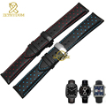 Натуральная кожа ремешок для часов очарование кожаный браслет спортивные часы ремень 20 22 мм мужские наручные часы группа ремень черный синий красный прошитой