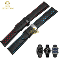 Genuine Leather Watchband Charm Leather Bracelet Sport Watch Strap 20 22mm Mens Wristwatches Band Belts Black